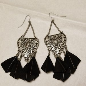 New, Black Feather Earrings